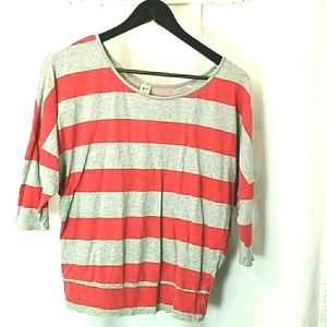 Gef Red and Grey Glitter Tee Womans Size Large
